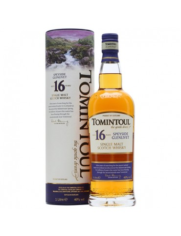 TOMINTOUL 16YO, Single Malt, Scotia, 1L, 40% ABV