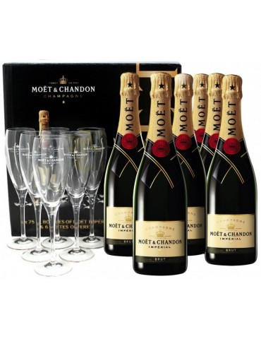 Set 6 sticle si 6 pahare, MOET & CHANDON Brut Imperial, Franta, 0.75L, 12% ABV