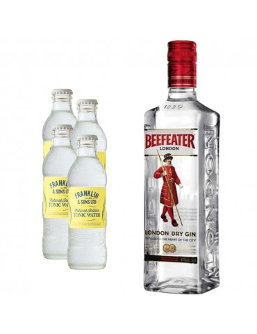Pachet Gin BEEFEATER London Dry 0.7L si 4x Apa tonica Indian FRANKLIN 200ML
