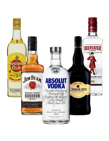 Pachet Bar Collection, Vodka ABSOLUT, Gin BEEFEATER, Whisky JIM BEAM, Rom Havana Club si Crema Whisky CAROLANS 0.7L