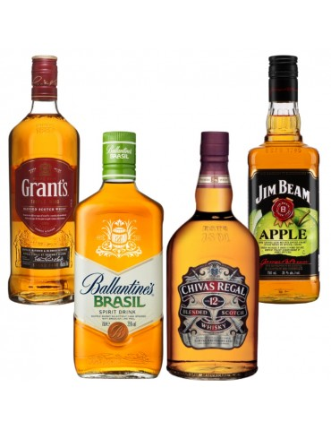 Pachet Whisky Quartet, Ballantine's Brasil, CHIVAS REGAL 12ANI Cutie Metal, JIM BEAM Apple, Grant's Triple Wood 0.7L