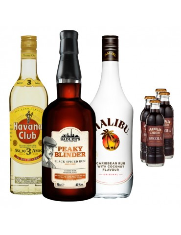 Pachet 3 Rum Flavours, Havana Club 3ANI, PEAKY BLINDER Black Spiced, MALIBU White si 4x Cola FRANKLIN 1886 200ML