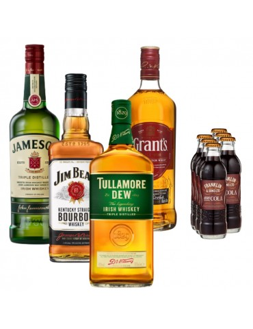 Pachet Whisky All Night Party, JAMESON, TULLAMORE DEW Cutie Metal, JIM BEAM White, Grant's si 6x Cola FRANKLIN 1886 200ML