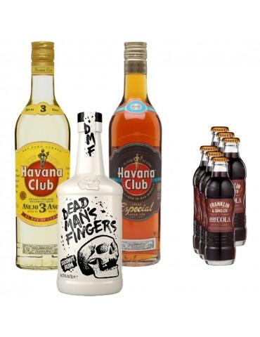 Pachet Rom Cuba Libre, Havana Club 3ANI, Havana Club Especial, DEAD MAN'S FINGERS COCONUT si 6x Cola FRANKLIN 1886 200ML