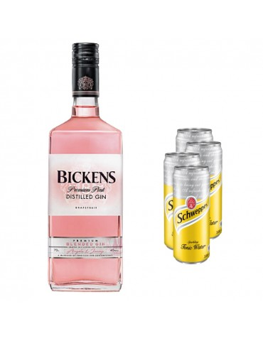 Pachet Gin BICKENS Pink Grapefruit 0.7L si 4x Schweppes Tonic Water 330 ml