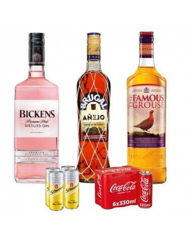 Pachet Long Drinks, BICKENS Pink Grapefruit, FAMOUS GROUSE, BRUGAL Anejo, 4 x Schweppes Tonic Water si 6 x Coca Cola Can