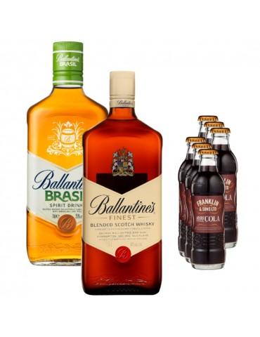 Pachet Duo Whisky, Ballantine's Finest Cutie Metal, Ballantine's Brasil si 6x Cola FRANKLIN 1886 200ML
