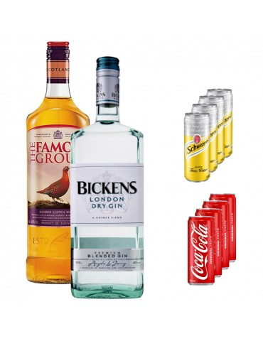 Pachet Magnum Size, BICKENS London Dry Gin, FAMOUS GROUSE Whisky, 4x Coca Cola Can 330 ml si 4x Schweppes Tonic Water 330 ml