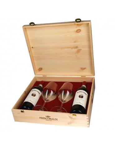 Pachet Vin Nipozzano Riserva Frescobaldi, Italia, Rosu, Sec, 2 Sticle, 2 Pahare, Cutie Lemn