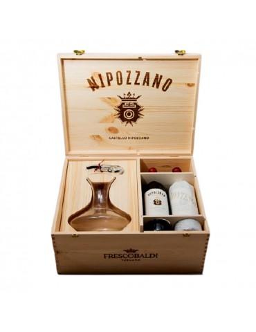 Pachet Vin Nipozzano Riserva Frescobaldi, 4 Sticle, Cutie Lemn, Carafa Si Tirbuson