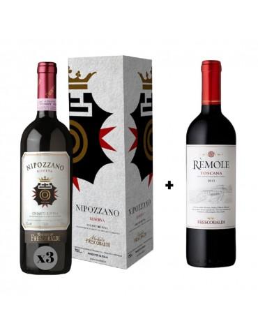 Pachet Vin 3 Sticle Nipozzano Riserva Frescobaldi si 1 Sticla Remole Toscana Frescobaldi