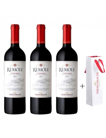 Pachet Vin 3 Sticle Remole Toscana Frescobaldi si 3 Pungi Originale Frescobaldi