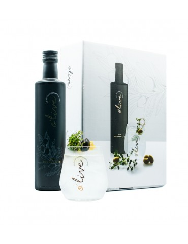 Set O'Live Gin, Belgia, 0.5L, 40% ABV, Cutie si 2 Pahare